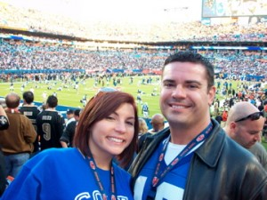 Ray Higdon and Jessica at Superbowl
